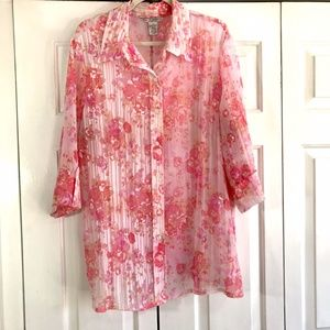 Fred David Plus Size Button Down with Collar